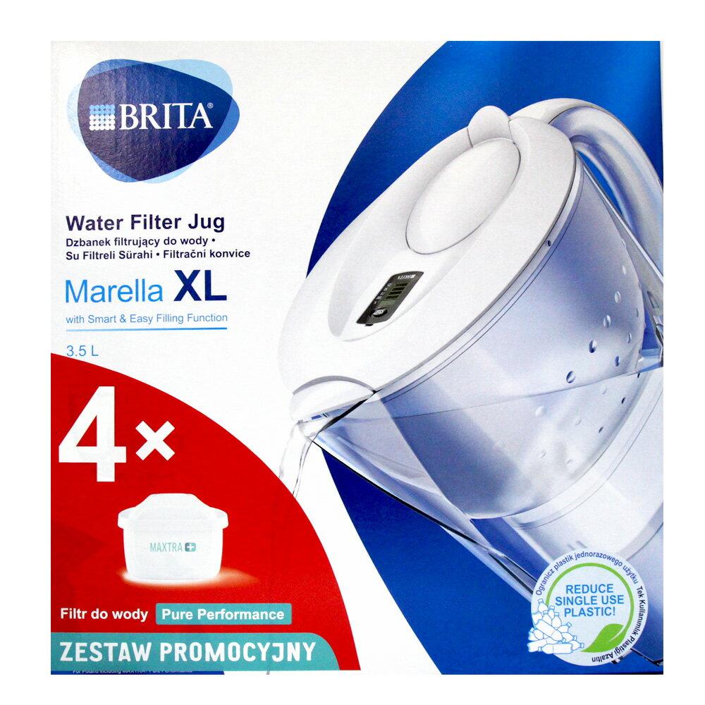 BRITA Marellla XL 3.5L 白色 濾水壺+濾心4個 【超商限購一組,如下多組請分批下單或是選擇宅配下單】