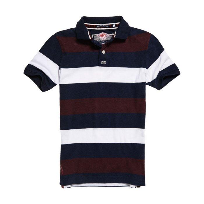美國百分百【全新真品】Superdry 極度乾燥 polo衫 上衣 短袖 條紋 復古 深藍/酒紅/白色 M號 H796