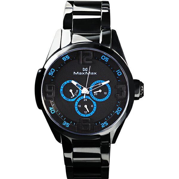 MaxMaxMAS7005-2陶瓷三眼酷炫腕錶-黑藍44mm