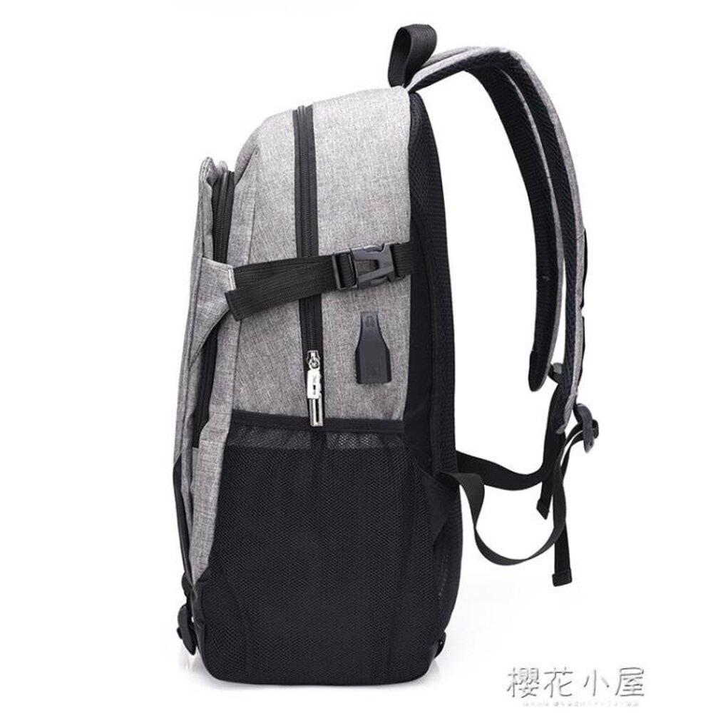 充電書包男大學生背包商務旅行雙肩包大容量時尚潮流女韓版學院風『櫻花小屋』 2