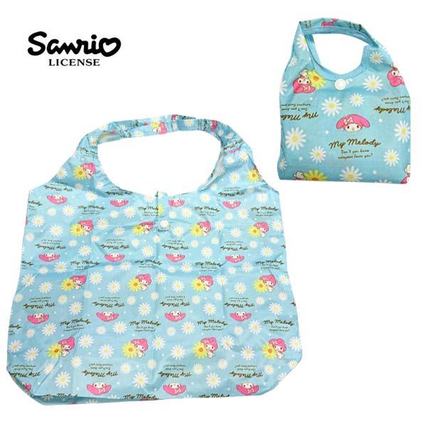 藍色款【日本進口】美樂蒂 My Melody 摺疊 購物袋 環保袋 手提袋 防潑水 三麗鷗 Sanrio - 437497