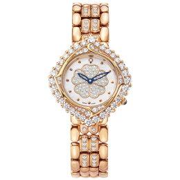 愛其華Ogival山茶花系列 玫瑰金腕錶 粉紅