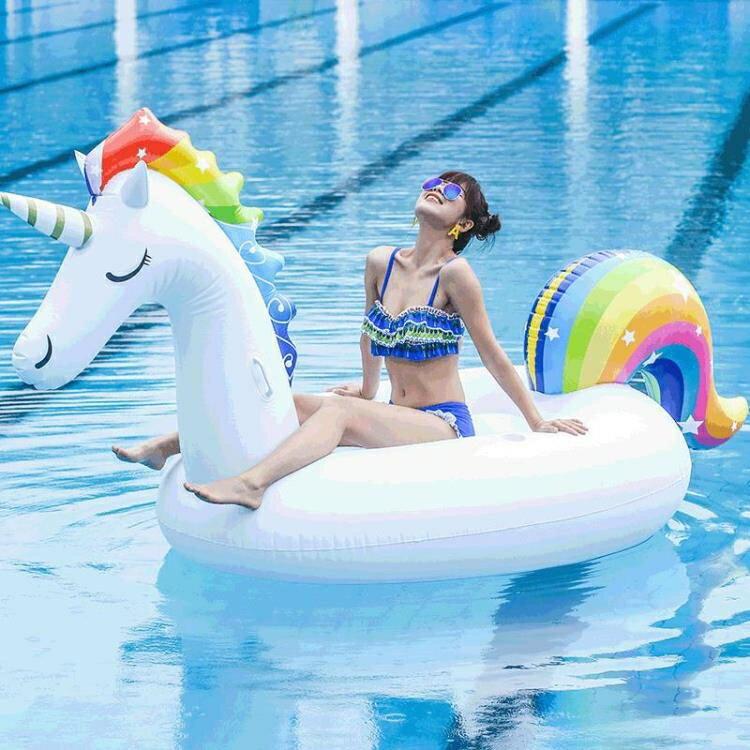 水上動物坐騎獨角獸坐騎PVC火烈鳥成人游泳圈天鵝游泳圈充氣浮排
