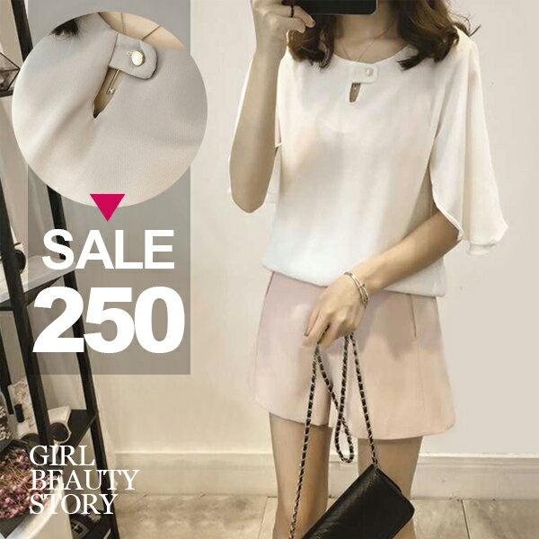 SISI【T8007】簡約百搭寬鬆顯瘦五分喇叭袖雪紡短袖T恤上衣