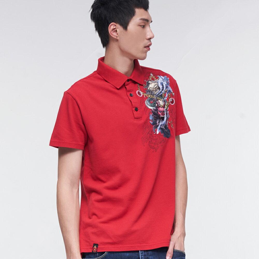 BLUE WAY  鬼洗 精繡鬼武獅POLO衫(紅) 1