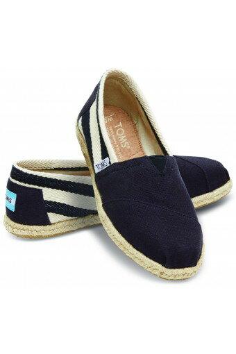 【TOMS】黑色寬條紋學院風平底鞋  Black Stripe University Women's Classics 0