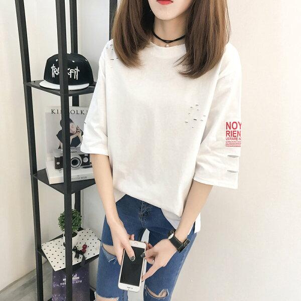 FINDSENSE服飾:FINDSENSEG5韓國時尚夏季圓領鏤空寬鬆大尺碼純色破洞短袖T恤