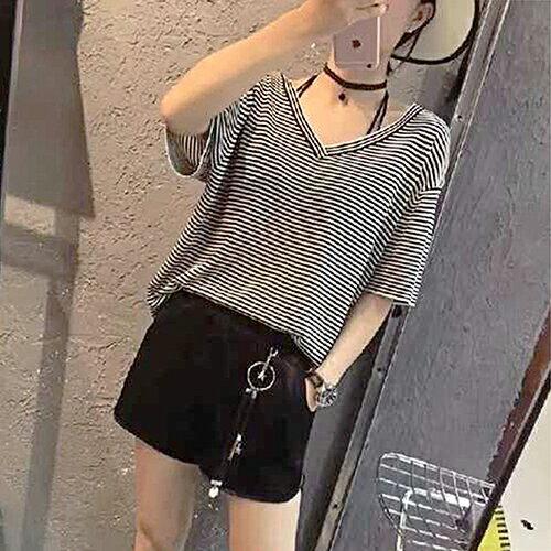 *ORead* 冰絲針織衫五分袖條紋短袖T恤(2色S~XL) 1