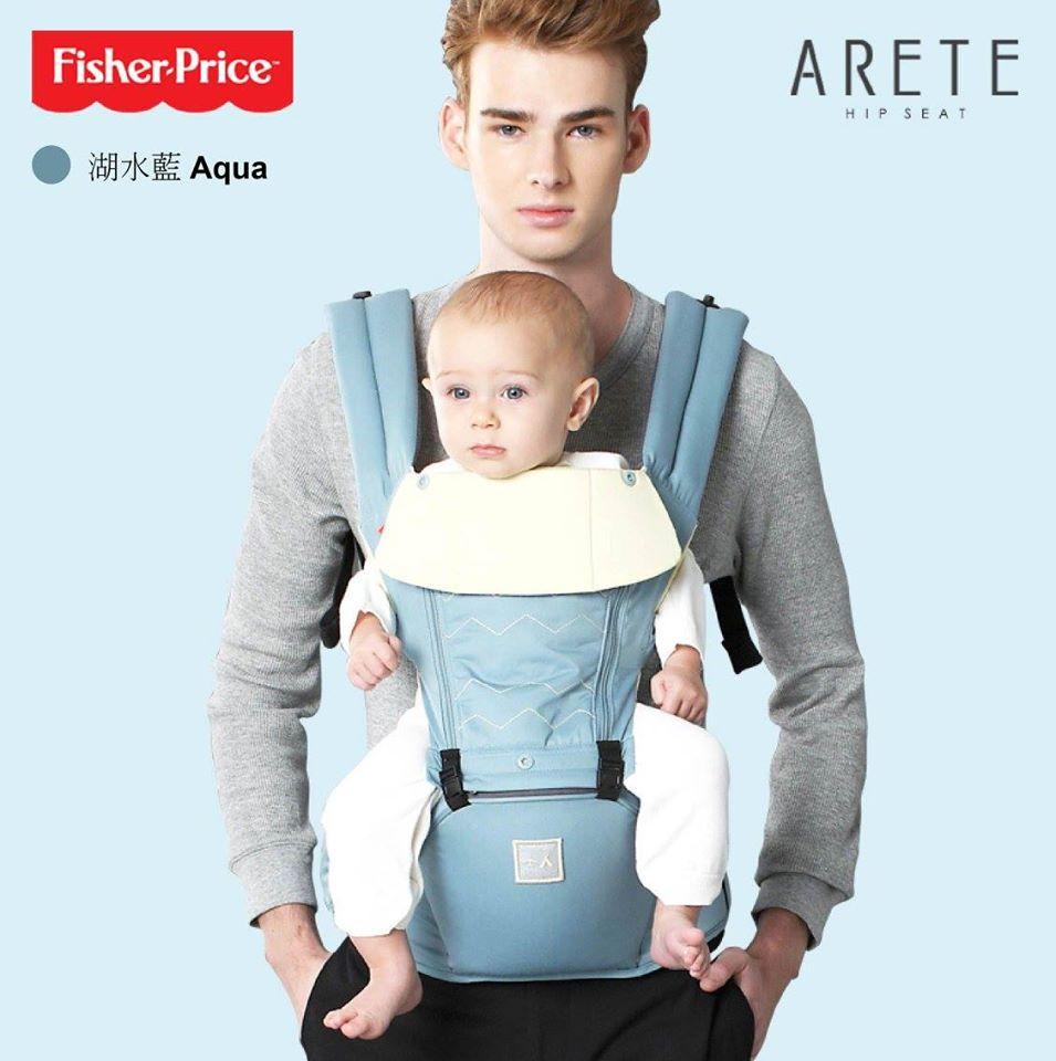 【Fisher-Price費雪】ARETE艾瑞特腰凳式揹巾(背巾)-湖水藍 3