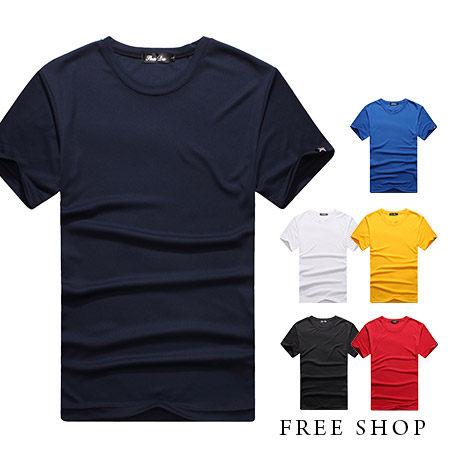 ~全店399 ~Free Shop~QR05011~美式休閒素面素色涼感衣料圓領棉質短袖上