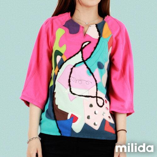 【Milida,全店七折免運】-秋冬單品-T恤款-甜美拼貼款 6