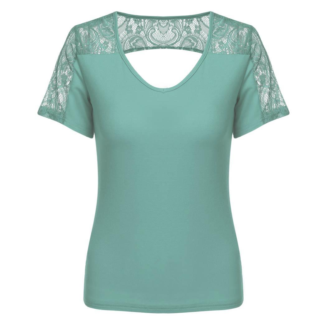 Women V-Neck Short Sleeve Lace Hollow Back Blouse Top 1