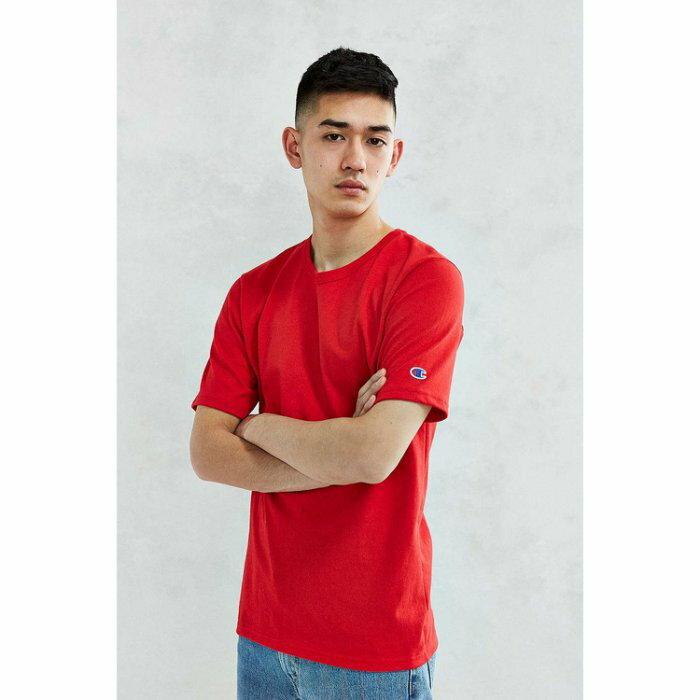 美國百分百~Ch ion~冠軍 T恤 短袖 T~shirt logo 素T 高磅數 紅色