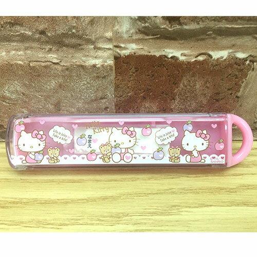 【真愛日本】17041600001 日本製餐具收納盒-KT蘋果粉 三麗鷗 Hello Kitty 凱蒂貓 餐具收納
