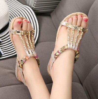 ~平底鞋水鑽羅馬涼鞋~夏日 優雅波西米亞風女鞋子3色73ey11~ ~~米蘭 ~