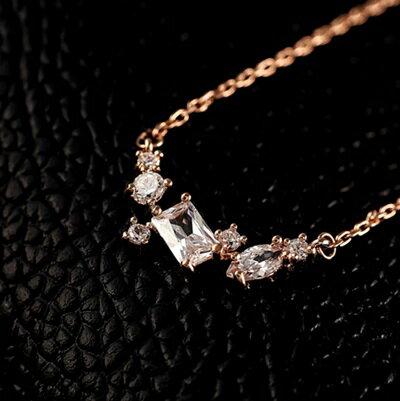 ~玫瑰金項鍊 水晶純銀吊墜~精美 鑲鑽簡約情人節生日 女飾品73dw24~ ~~米蘭 ~