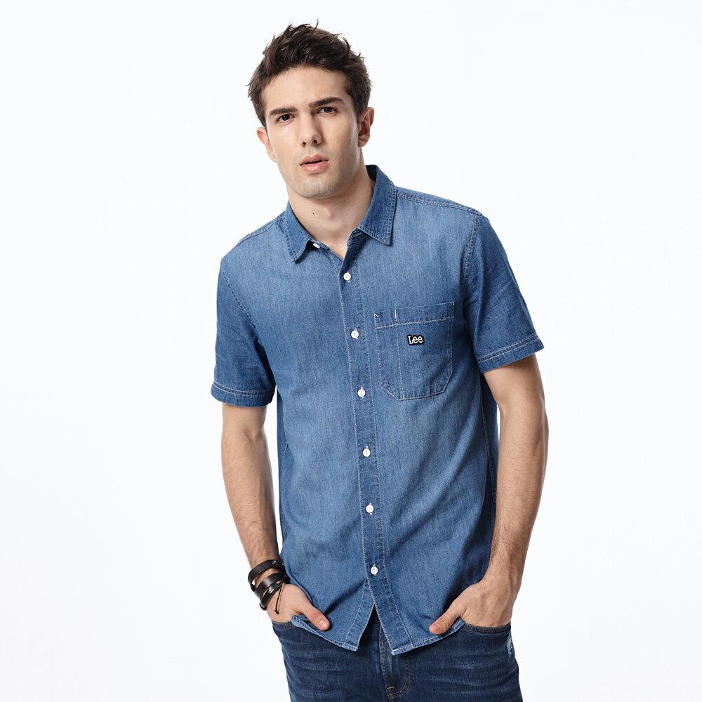 Lee 短袖牛仔襯衫 男款 中藍