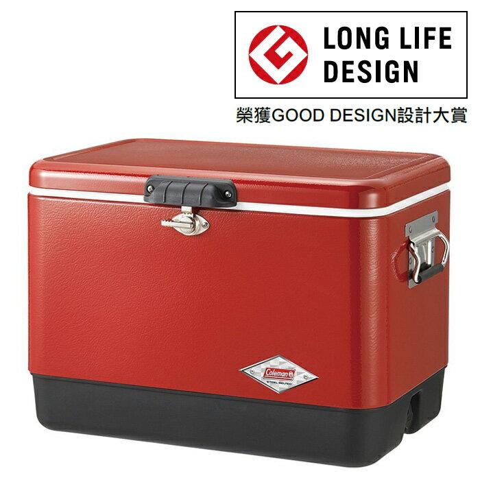 Coleman |美國| 54QT 經典鋼甲冰箱/不鏽鋼冰箱 露營冰桶-紅黑/CM-04320M000 【容量51L】