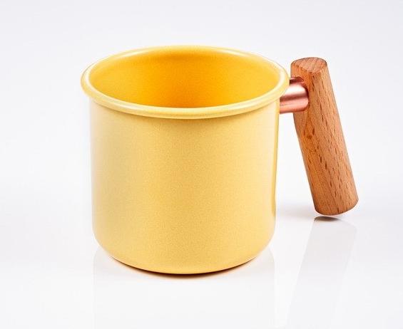 ├登山樂┤臺灣 Truvii 木頭琺瑯杯(把手與銅環樣式隨機出貨) 250ml 奶油黃#4716171921292