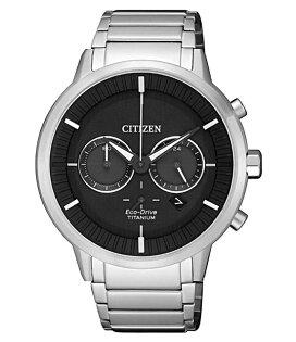 CITIZEN星辰CA4400-88E簡約光動能鈦金屬計時腕錶銀+黑面42mm
