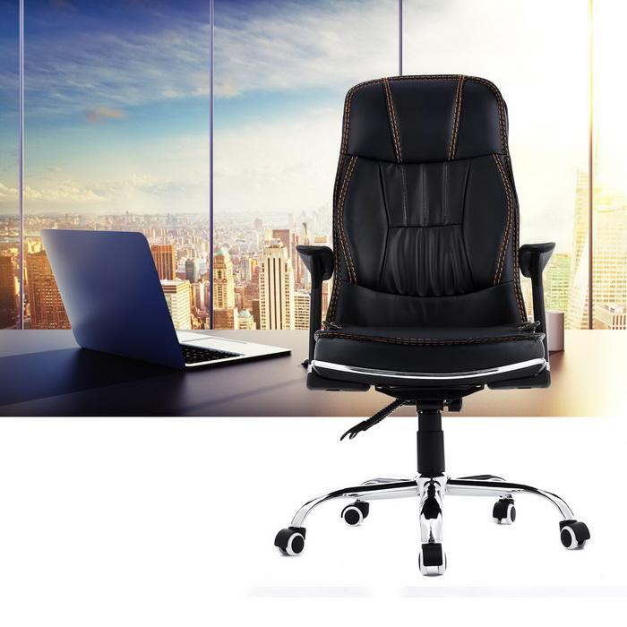 Ergonomic PU Leather High Back Office Chair with Armrests 1