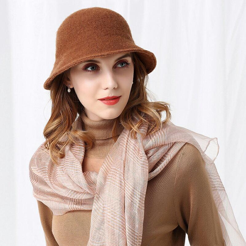 帽子女羊毛帽子秋冬韓版潮百搭漁夫帽冬季復古日系針織毛線盆帽1入