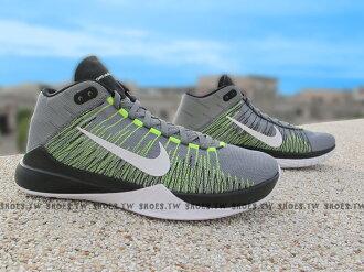 [27.5cm]《5折出清》Shoestw【856575-004】NIKE ZOOM ASCENTION EP 籃球鞋 灰黑螢光綠