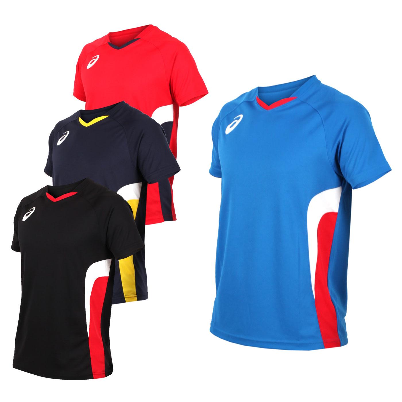 ASICS 男女排球短袖上衣(短T T恤 亞瑟士 免運【03312615】≡排汗專家≡