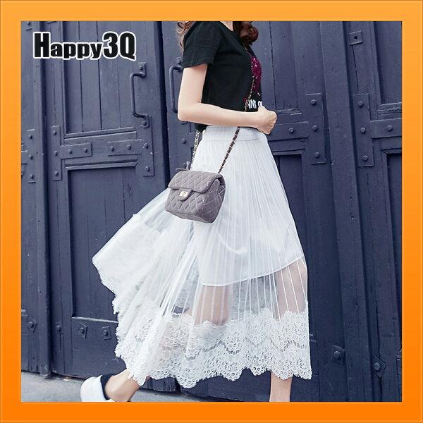 長裙透視裙裝蕾絲半身裙子白裙黑裙女裝長裙拼接-白黑S-L【AAA4961】