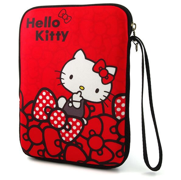 [NOVA成功3C]Hello Kitty SKN-534 精典彈膠型筆電保護袋KT-蝴蝶結紅-7吋  喔!看呢來