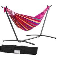 Double Hammock With Space Saving Steel Stand - Includes Carrying Case (Red)