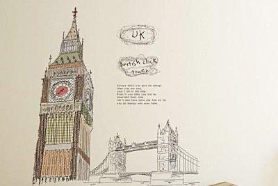 BO雜貨【YP1975】高品質創意牆貼/壁貼/背景貼/磁磚貼/壁貼樹 時尚組合壁貼 倫敦鐘樓