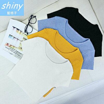 ~11/1-11/24 全店滿599折50【V1160】shiny藍格子-舒適簡單.簡約純色修身顯瘦針織短版上衣