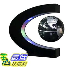 [107玉山最低比價網] 磁懸浮地球儀C形 6寸8發光自轉創意禮品 C形狀磁懸浮世界地圖 英文版