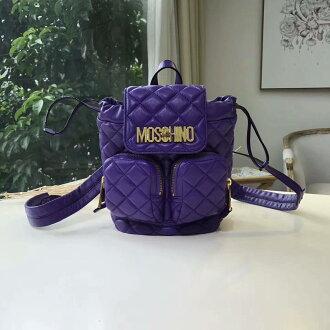 美國正品代購 MOSCHINO 小羊皮菱格抽繩水桶雙肩包 翻蓋後背包 上學包 兩色可選