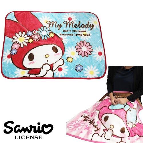 藍色小花款【日本進口正版】美樂蒂 My Melody 絨毛 披肩 毛毯 毯子 披毯 三麗鷗 Sanrio - 417888