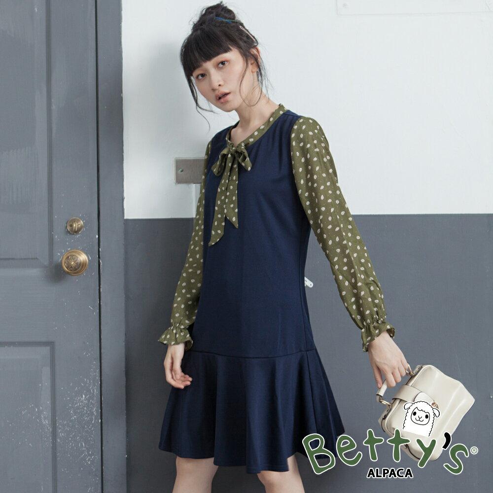 betty's貝蒂思氣質綁結雪紡拚接魚尾洋裝(藍色)▶ 滿1500現折250