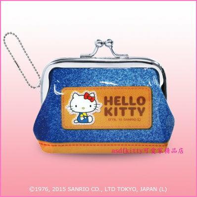 asdfkitty可愛家☆KITTY藍色雙珠扣零錢包-防水材質-可當印章袋-日本正版商品