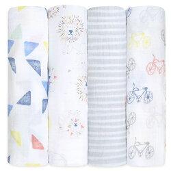Aden+Anais 純棉包巾 美國 嬰兒包巾 120x120cm 4入組  小獅王(蓋毯 包巾 四季被 )