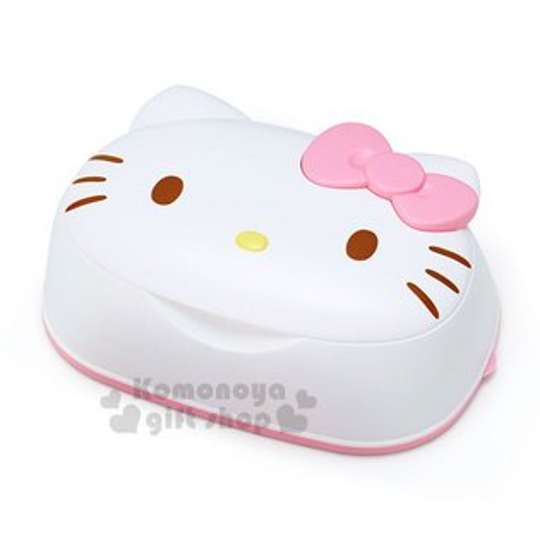 〔小禮堂〕HelloKitty日製造型卸妝濕紙巾盒《白.蝴蝶結.大臉型》內附31抽卸妝濕紙巾
