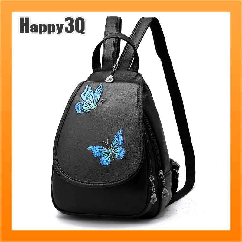 百搭軟皮小背包刺繡花紋蝴蝶花草 包包手提包 簡約休閒旅行包~多款~AAA3057~