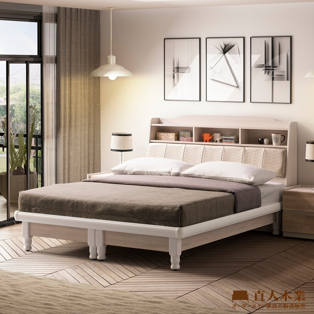【日本直人木業】COCO瑪朵白橡立式實木腳 3.5尺單人床組