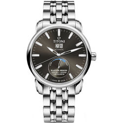 TITONI瑞士梅花錶 大師系列 94688S-579 天文台認證時尚機械腕錶/銀x黑 41mm