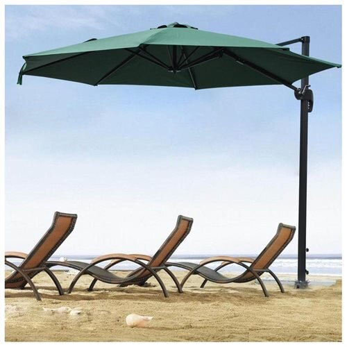 10ft Hanging Offset Roma Outdoor Patio Umbrella UV30+ 200g W/ Crank Pedal  Control Green/