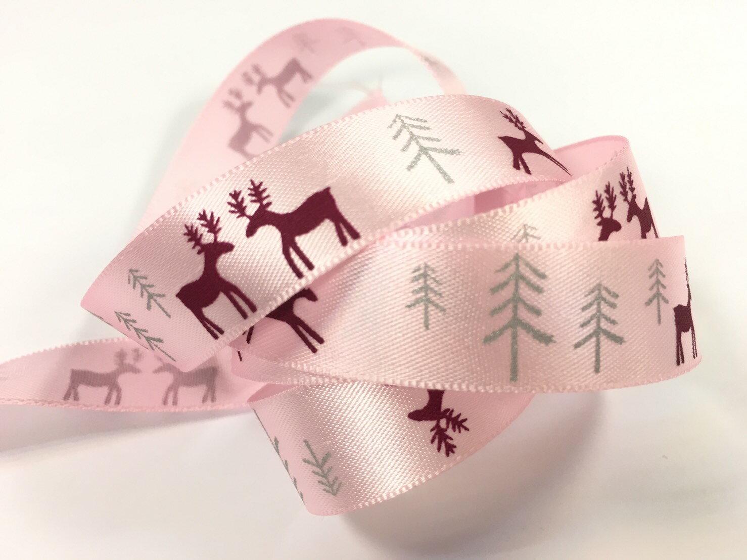 聖誕麋鹿雪樹緞帶15mm3碼裝(單緞面7色) 2