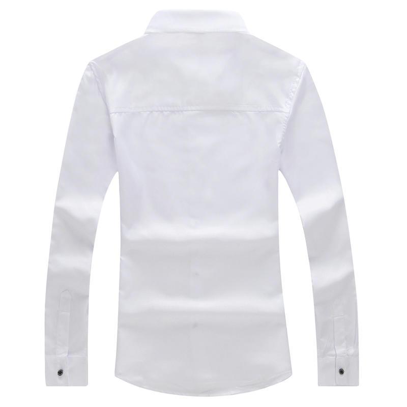 純色長袖襯衫修身商務休閑長袖白襯衣潮男裝青少年寸衫男1入