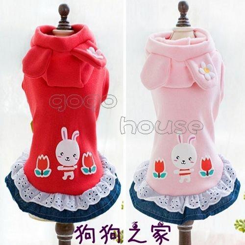~狗狗之家~Petco 小兔 花朵 不倒絨 蕾絲花邊牛仔裙~紅色 粉色