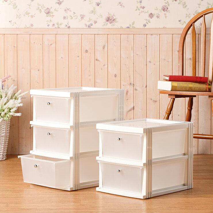 塑膠抽屜櫃 置物櫃三抽 兩層三層收納櫃 小物收納抽屜 收納抽屜兩層三層 雜物櫃-白色 【TGL-PDR2(WH)】【TGL-PDR3(WH)】 製  家