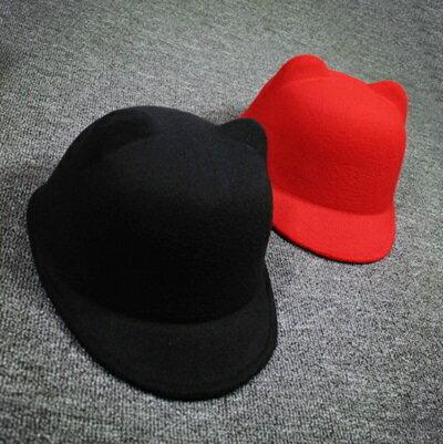 <br/><br/>  ☆馬術帽 毛呢帽-可愛小耳朵時尚純色女<a href=