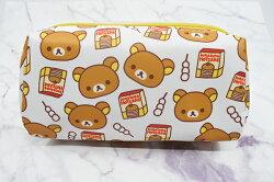 X射線【C222083】懶熊Rilakkuma 方型化妝包-鬆餅,鉛筆盒/筆盒/筆袋/筆筒/文具/收納